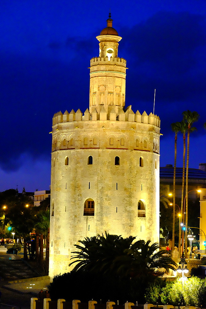 Torre del Oro (Gold Tower), Museo Naval, Seville, Andalucia, Spain, Europe