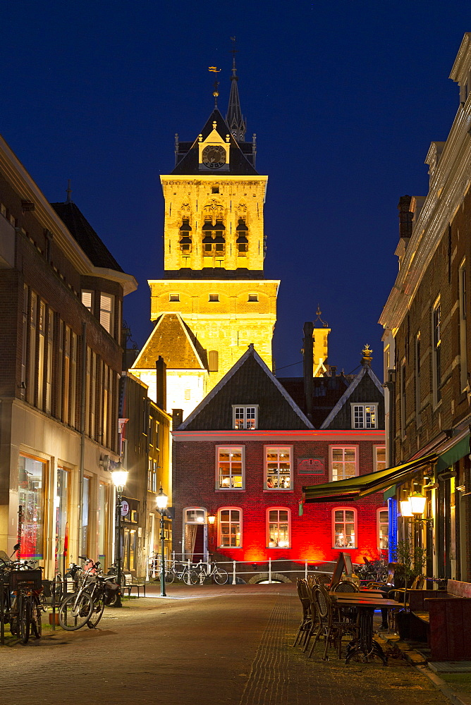 The tower of Delft Town Hall (Stadhuis) and Dutch Gold Age facades in Delft, South Holland, The Netherlands, Europe - 826-712