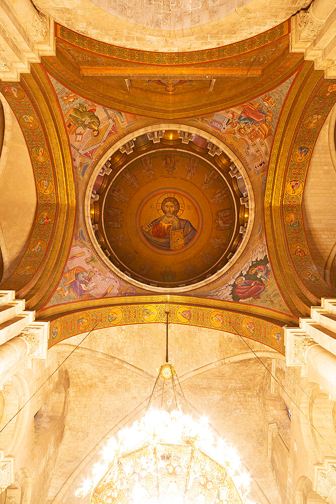 Christ Pantocrator mosaic in the cupola of the Church of the Holy Sepulchre in Jerusalem, Israel, Middle East - 826-750