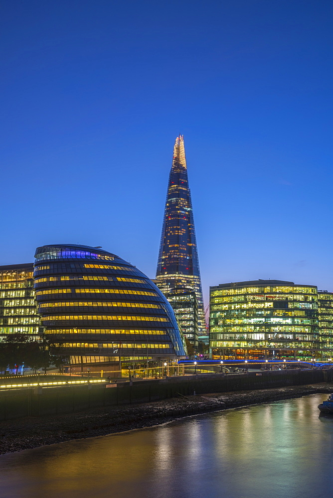 The Shard and City Hall by River Thames, Southwark, London, England, United Kingdom, Europe - 828-1125
