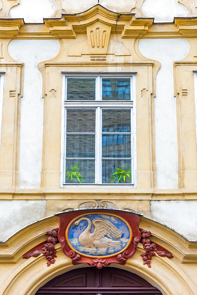 White Swan house sign, Number 49, Nerudova, Mala Strana, Prague, Czech Republic, Europe