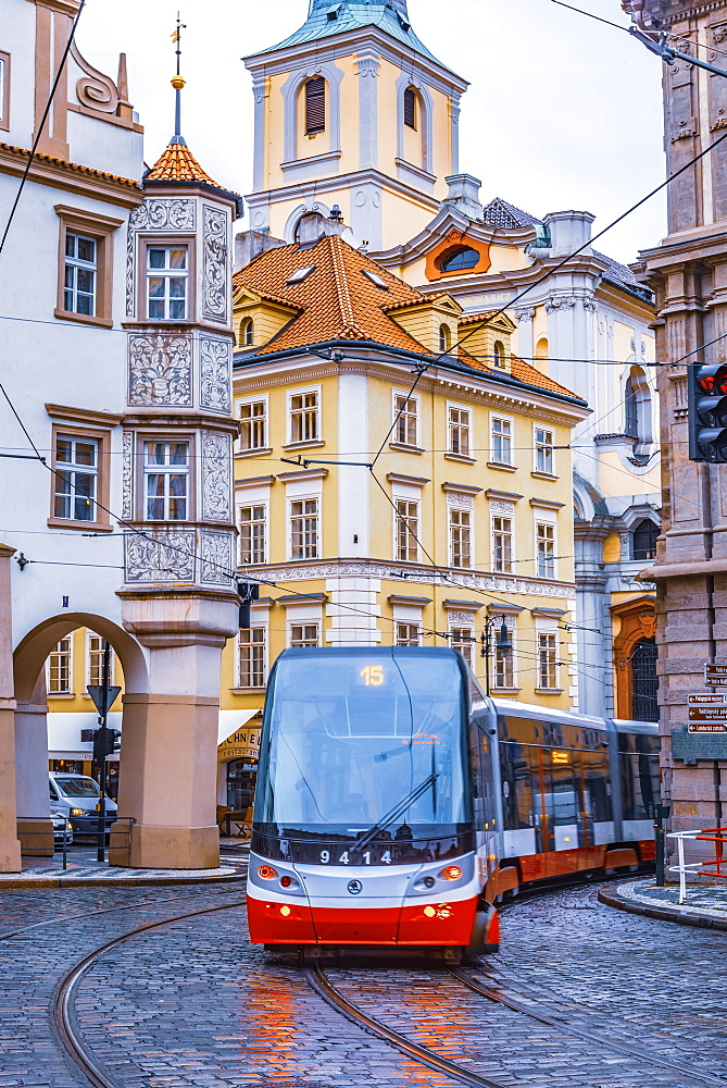 Tram, Malostranske namesti, Mala Strana, Prague, Czech Republic, Europe - 828-1202