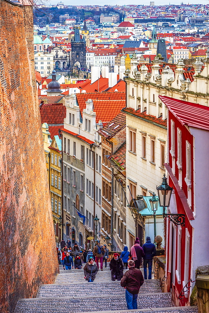 Zamecke Schody, Castle Stairs, Mala Strana, UNESCO World Heritage Site, Prague, Czech Republic, Europe - 828-1204