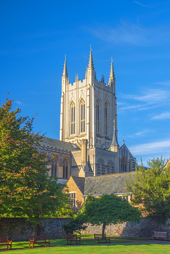 UK, England, Suffolk, Bury Saint Edmunds, St Edmundsbury Cathedral from the Abbey Gardens - 828-1267