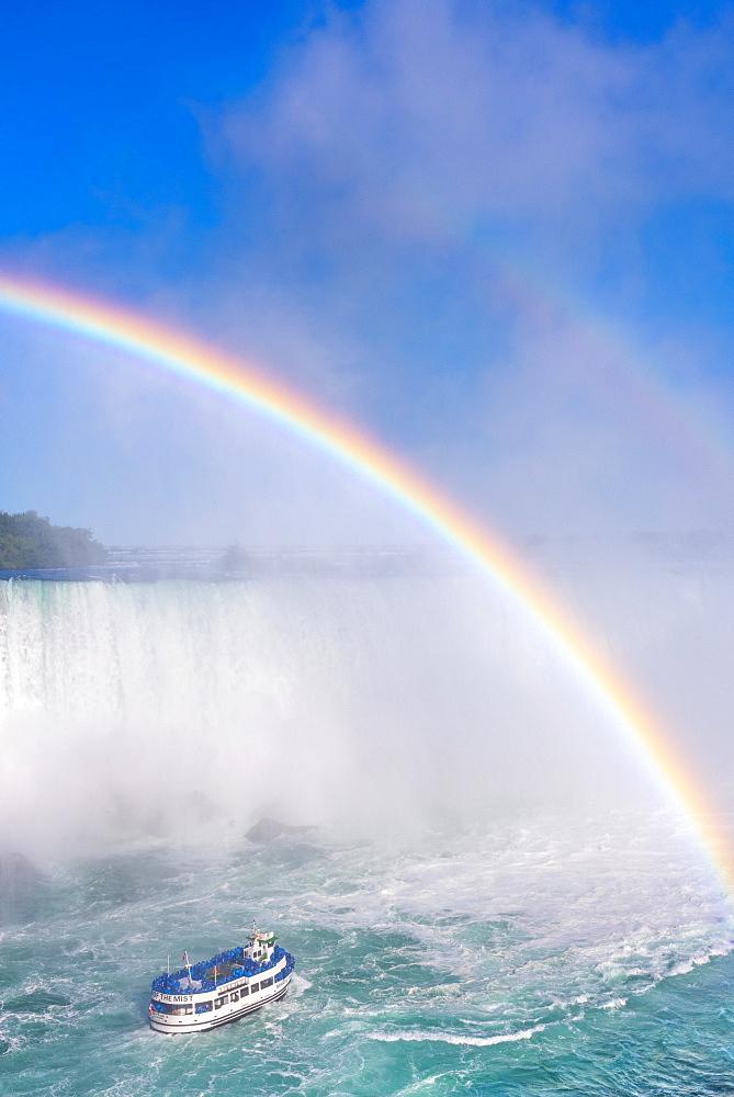 Double rainbow, Horseshoe Falls, Maid of the Mist, Niagara Falls, Ontario, Canada, North America