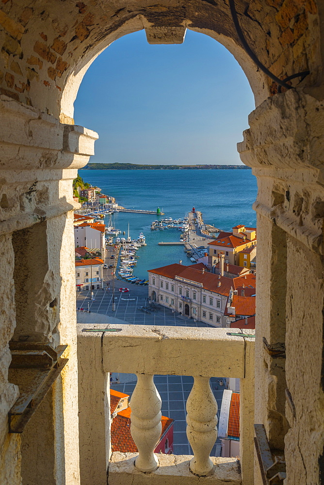 Old Town from Church of St. George (Cerkev sv. Jurija), Piran, Primorska, Slovenian Istria, Slovenia, Europe