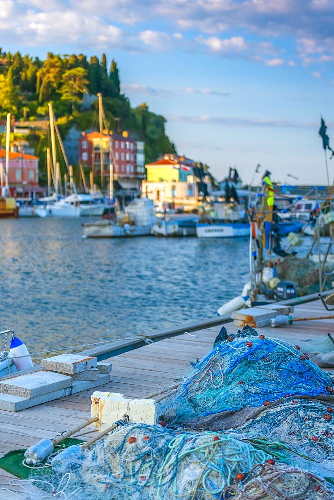 Fishing nets, Old Town Harbour, Piran, Primorska, Slovenian Istria, Slovenia, Europe
