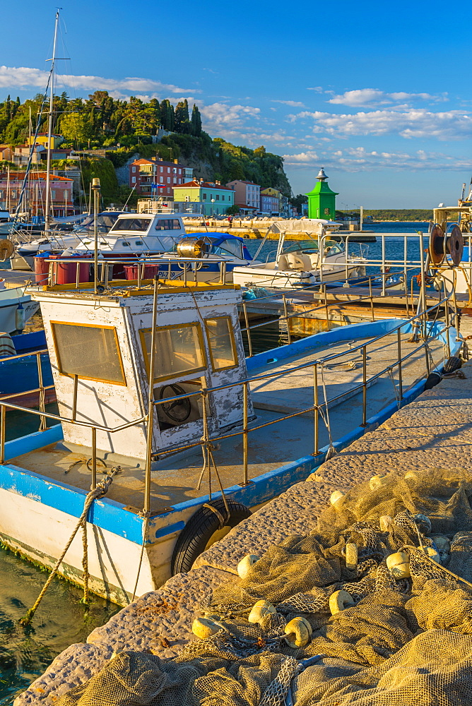 Fishing nets and fishing boat, Old Town Harbour, Piran, Primorska, Slovenian Istria, Slovenia, Europe