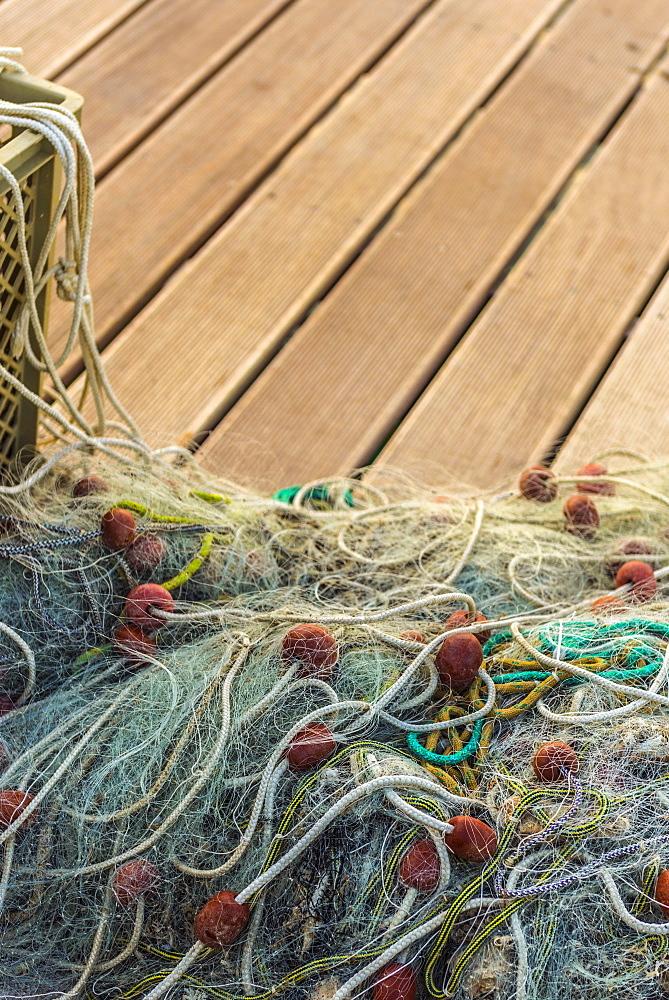 Fishing nets, Old Town Harbour, Piran, Primorska, Slovenia, Europe