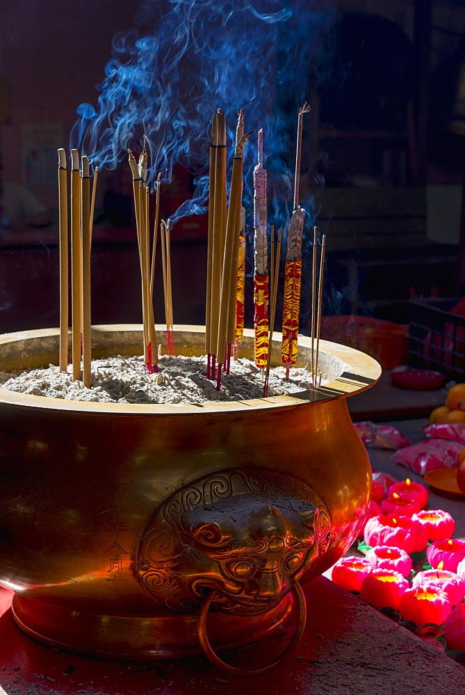Incense sticks burning, Sin Sze Si Ya Temple (Sze Yah Temple), China Town, Kuala Lumpur, Malaysia, Southeast Asia, Asia