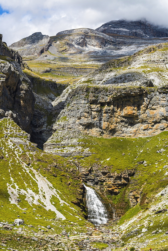 Cola de Caballo waterfall below Monte Perdido at the head of the Ordesa Valley. Ordesa National Park; Pyrenees; Aragon; Spain