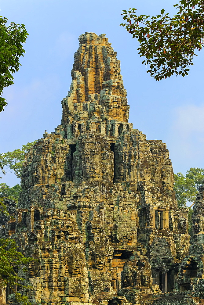 Central Tower and carved faces at Bayon, last temple of King Jayavarman VII in Angkor Thom city, Angkor, UNESCO World Heritage Site, Siem Reap, Cambodia, Indochina, Southeast Asia, Asia