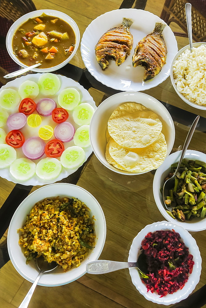 Typical Keralan meal on backwater houseboat: rice, beans, cabbage, curry, papad, fried fish; Alappuzha (Alleppey), Kerala, India