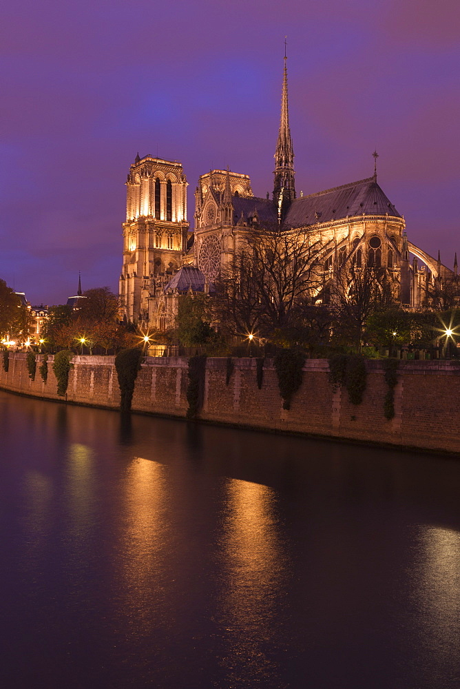 Notre Dame Cathedral floodlit at night with River Seine, Paris, France, Europe - 831-1511