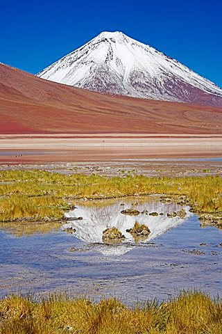 Laguna Verde and Licancabur volcano, Bolivia near the border to Chile, South America