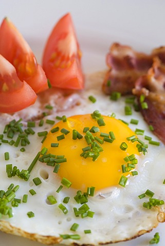 Fried egg with bacon, tomatoes and chives