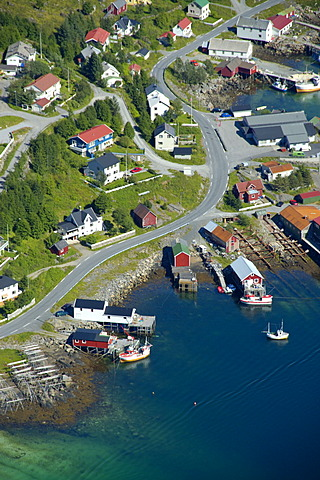 View on Reine with road houses and boats from above Moskenesoya Lofoten Norway