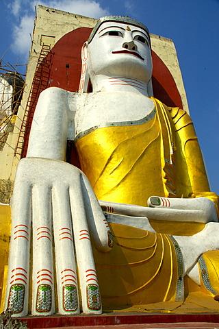 Big sitting Buddha in mudra touching the earth Kyaikpun Bago Burma