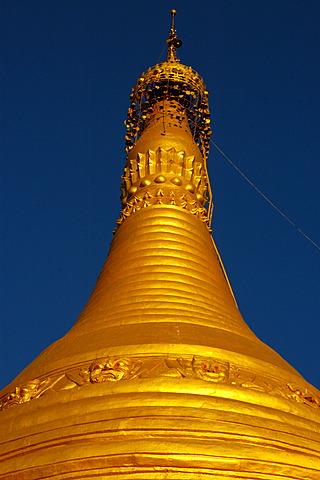 Top of big golden stupa Pindaya Shan State Burma