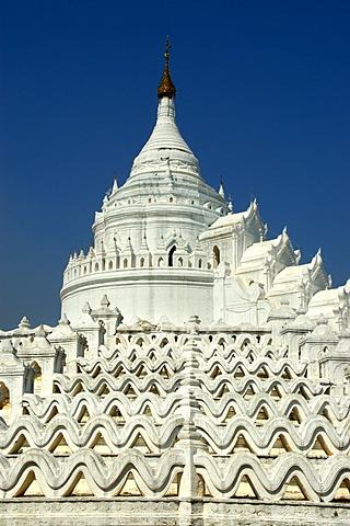 White Hsinbyume Paya against the blue sky Mingun Mandalay Burma
