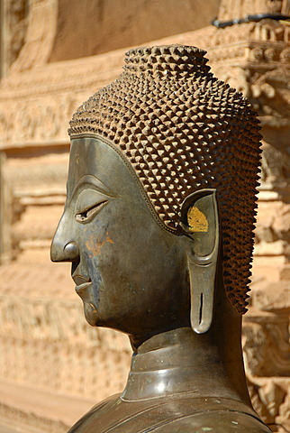 Head of a bronze buddha statue Temple museum of Art and Antiquities Haw Pha Kaew Museum Vientiane Laos