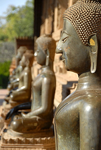 Bronze buddha statues Temple museum of Art and Antiquities Haw Pha Kaew Museum Vientiane Laos