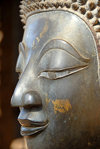 Face of a bronze buddha statue Temple museum of Art and Antiquities Haw Pha Kaew Museum Vientiane Laos