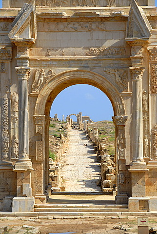 View through triumph arch of Septimus Severus with cardo Leptis Magna Libya