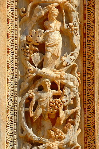Fine carved relief at column Severan basilica Leptis Magna Libya