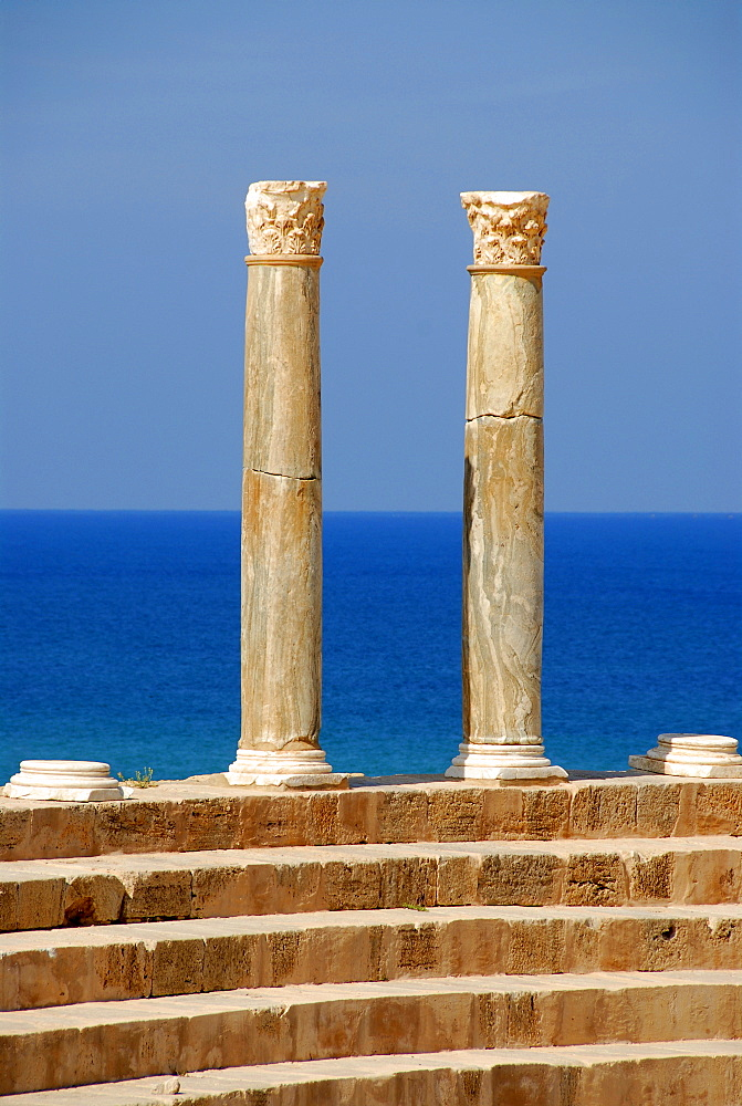 Two pillars with corinthian capital Roman theatre Leptis Magna Libya
