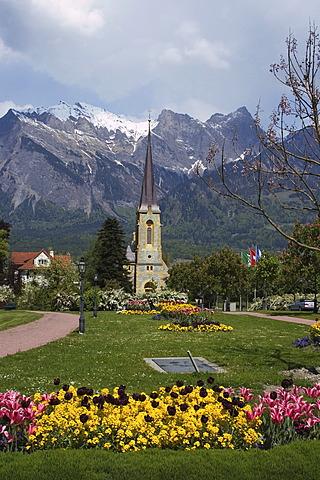 Bad Ragaz Canton St. Gallen Switzerland popular spa and health resort in the spa garden church