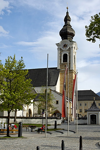 Altenmarkt in the Pongau Salzburger country Austria church with village square