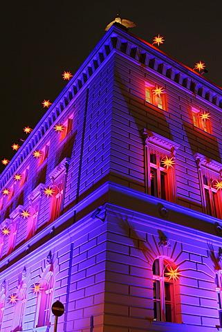Christmas window decoration in the Bertelsmann Haus Building, Unter den Linden, Berlin, Germany, Europe