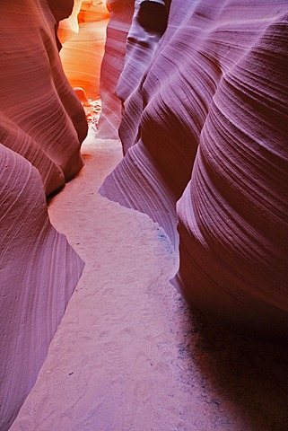 Path through the Lower Antelope Canyon, Slot Canyon, Page, Arizona, USA