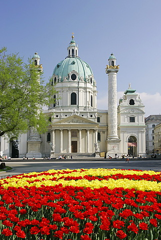 The baroque church Karlskirche built by plans of Fischer von Erlach in Vienna Austria