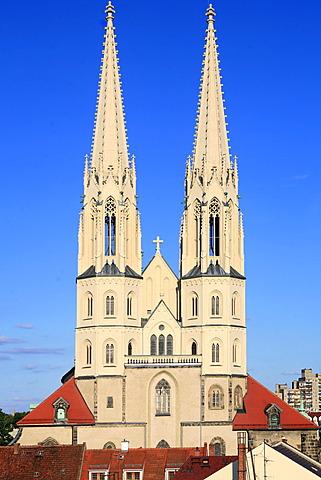Twin towers of St Peters church, Goerlitz, Saxony, Oberlausitz, Lower Silesia, Germany, Europe