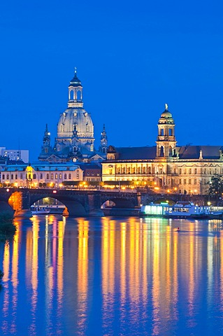Dresden at dusk, Elbe River, illuminated historic town centre, Staendehaus building, Frauenkirche, Church of Our Lady, Sekundogenitur building, Augustus Bridge, Saxony, Germany, Europe