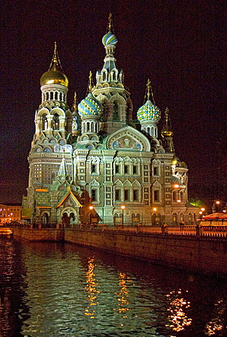 White Nights, GUS Russia St Petersburg 300 years old Venice of the North Gribojedow Chanel Ressurection Church built 1883 to 1907 by Ignati Malyschew and Alfred Parland highest Tower 81 m Moskowian Style of 16 and 17 Century Consecration with Zar Nikolaus