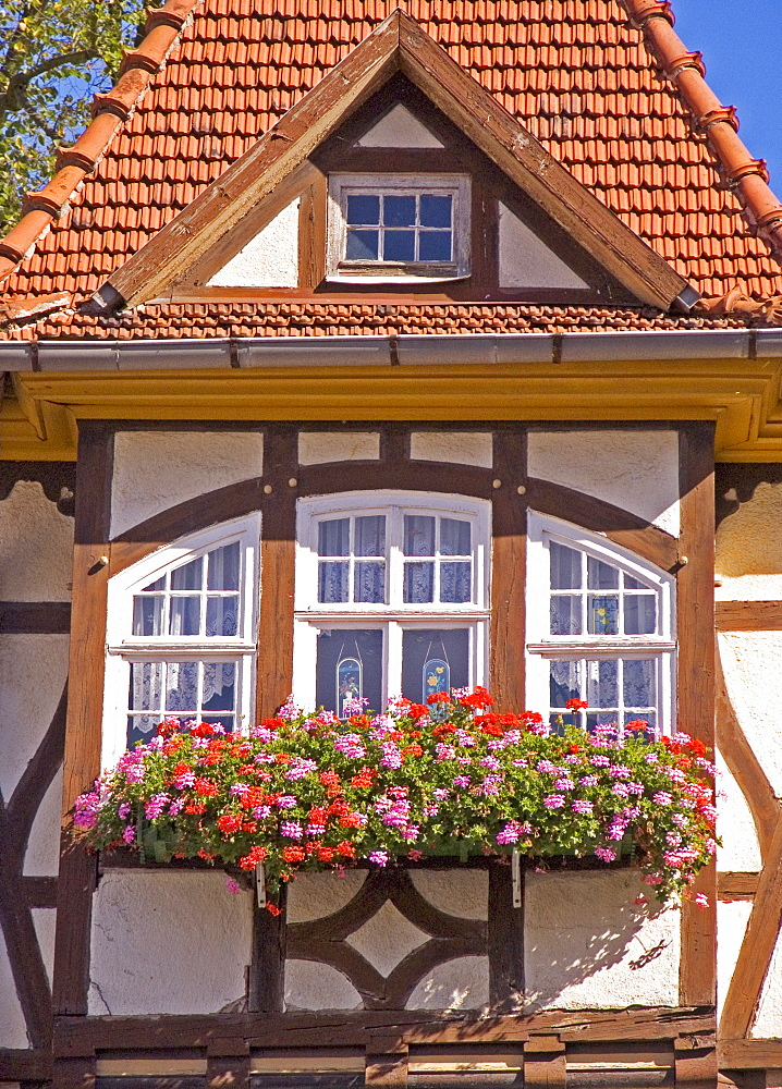 BRD Germany Thüringen Freestate Thüringen Suhl Centre for Hunting and Sporting Arms Landmark of the City the Memorial of the Armorer Thüringian House Framework House with Balcony Bay and red Flowers