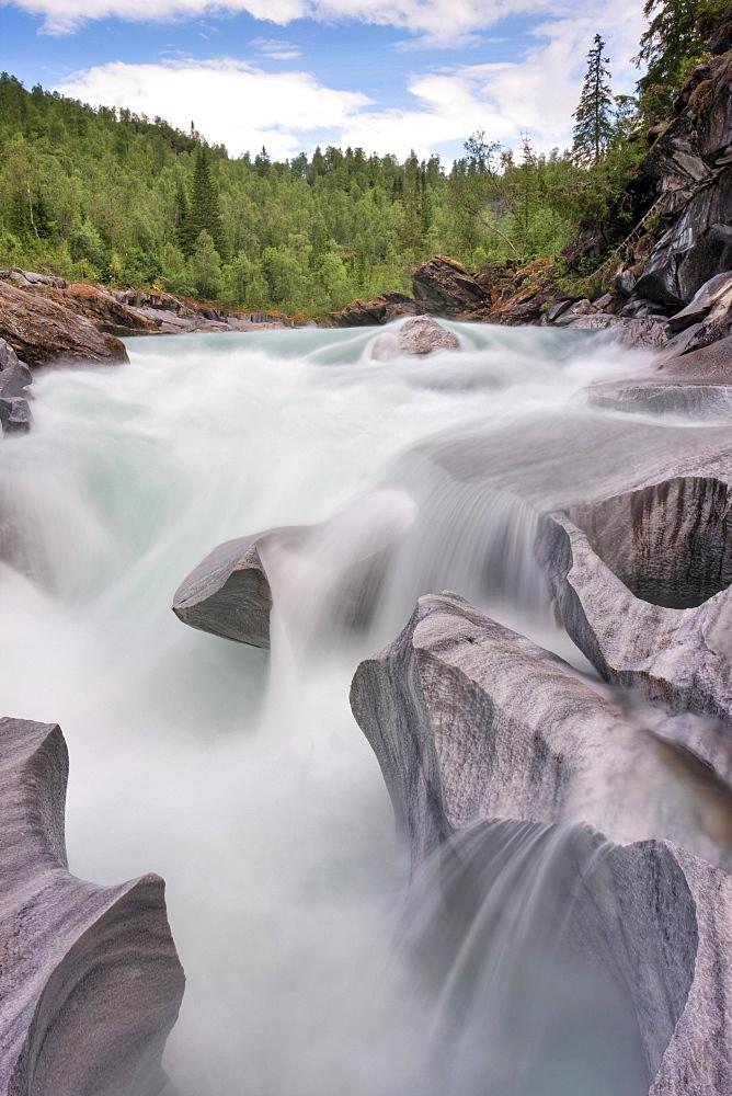Marmorslottet, The Marble Castle, on Glomåga, Glomaga river, Nordland county, Norway, Scandinavia, Europe