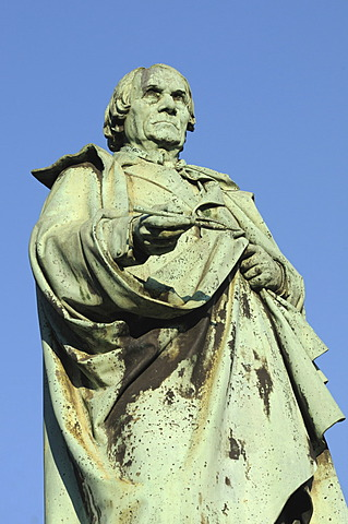 Bronze statue of Peter von Cornelius, painter, director of the academy of arts, Duesseldorf, North Rhine-Westphalia, Germany, Europe