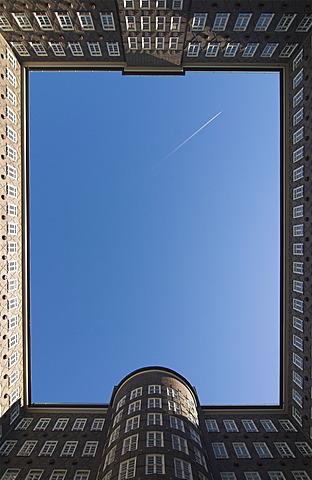 Looking upward in the courtyard of Sprinkenhof Building in downtown Hamburg, Germany