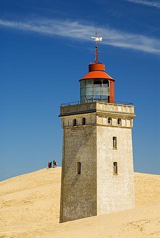 Lighthouse buried by a shifting sand dune at Rubjerg near Loekken, Jutland, Denmark