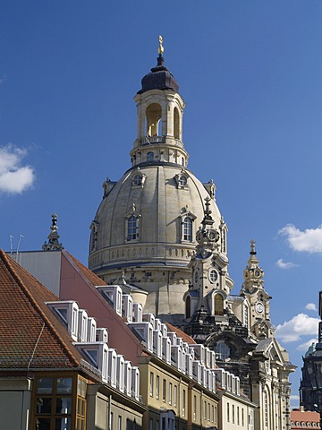 Dresden, Saxony, Dresden old town with the Frauenkirche new built up