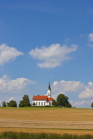 Solitary church in the countryside, Bavaria, Germany, Europe