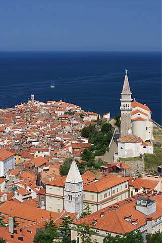View of Piran on the Mediterranean at the Adriatic coast in Slovenia