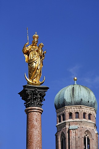 The Columna of St Mary and Church of Our Lady München Munich Bavaria Germany