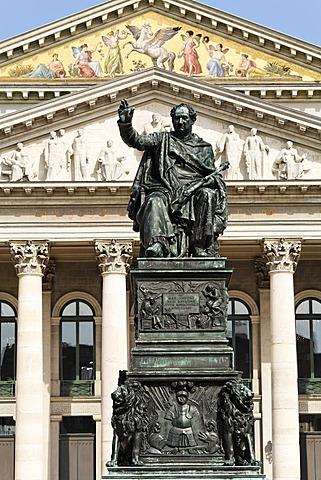 Max I. Joseph memorial, National Theatre, Max-Joseph-Platz, Munich, Bavaria, Germany