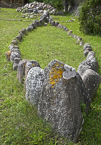 Stones set in the layout of a ship, Bunge, Gotland, Sweden