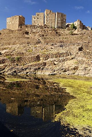 Historic cisterne in the mountain village Shaharah, Yemen